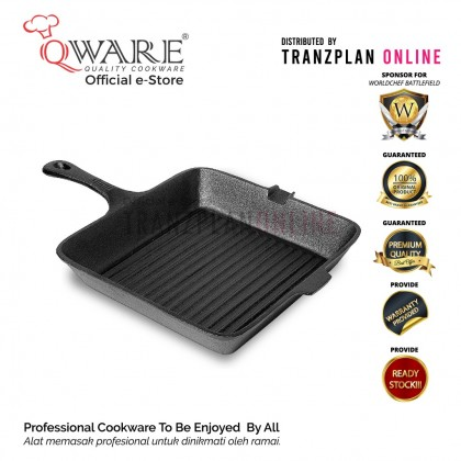 QWARE 23cm/ 25cm Pre-seasoned Square Cast Iron Grill Pan Cast Iron Skillet with Built in Pouring Spout